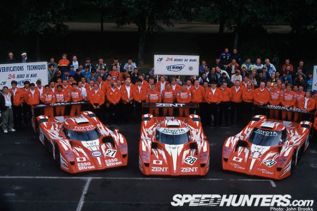 The 1998 Toyota GT-One team at Le Mans.
