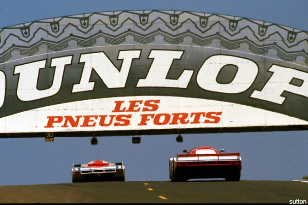 Porsches at the Dunlop Bridge Le Mans 1984