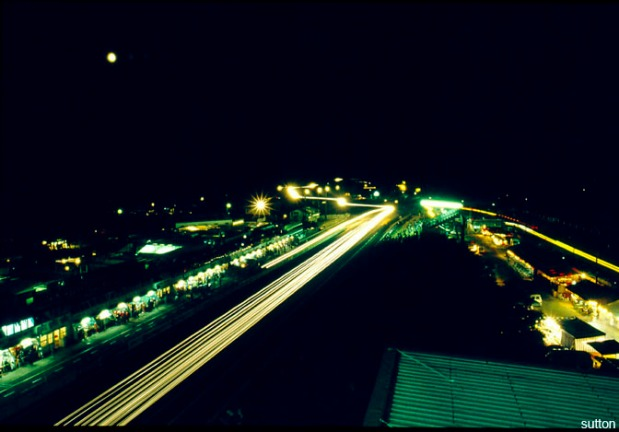 Night time along the pit straight